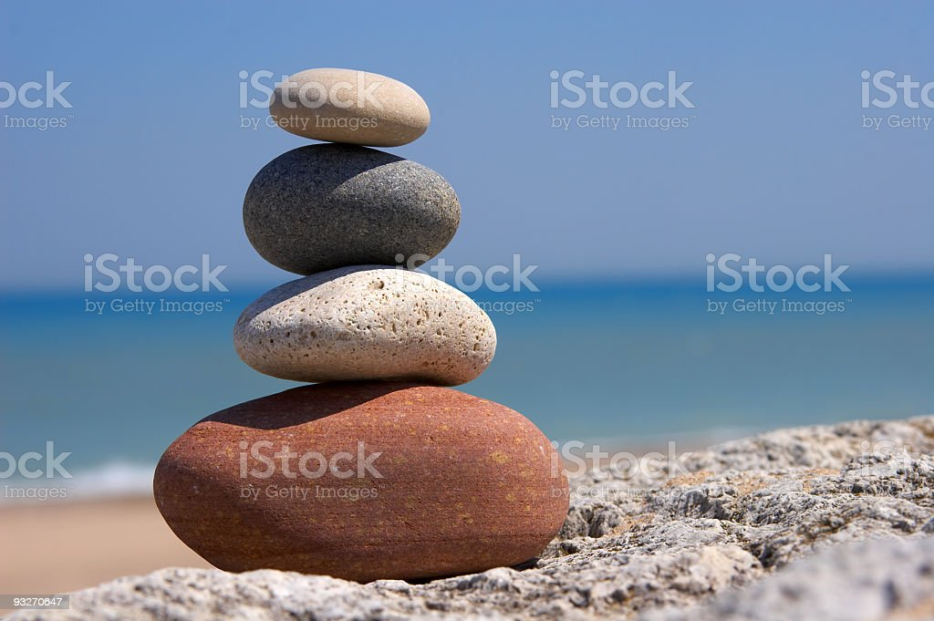 Set of four stones on top of each other signifying Zen royalty-free stock photo