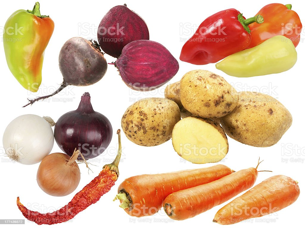 Set of fresh fruits and vegetables royalty-free stock photo