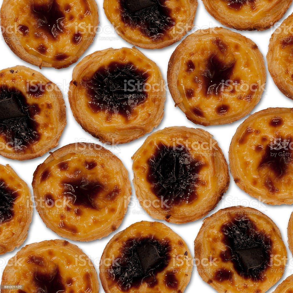 Set of fresh pastel de nata (Portuguese egg tart) stock photo