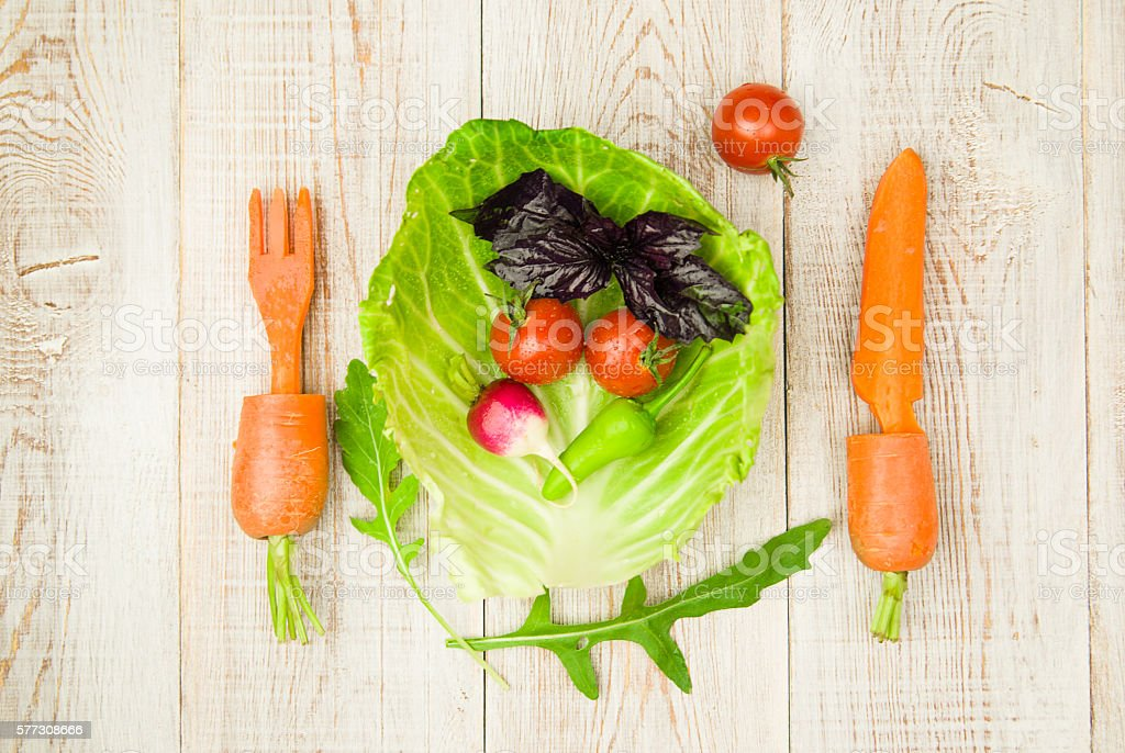 Set of fresh vegetables for proper nutrition stock photo