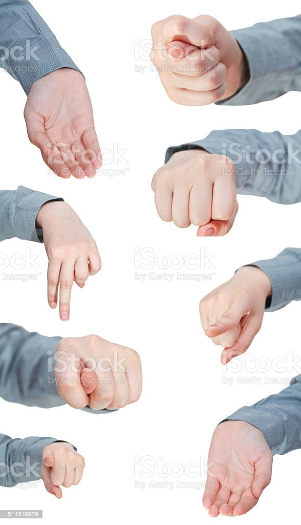 set of front view of female hand gesture stock photo