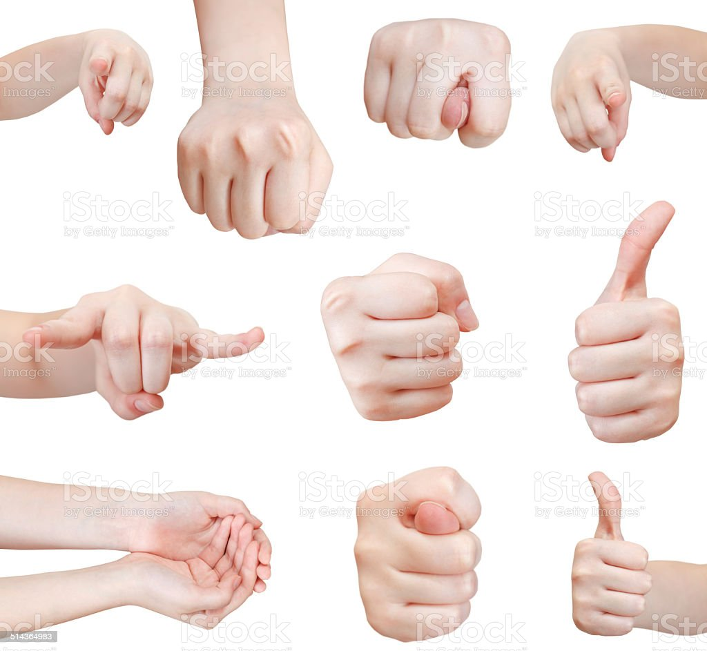 set of front view of hand gesture isolated stock photo