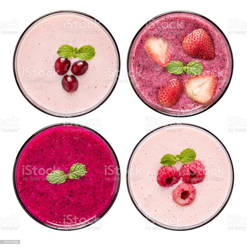 Set of fruit smoothie in glasses isolated on white background. stock photo
