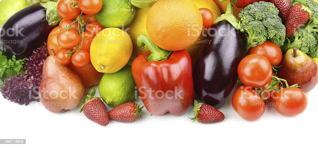 set of fruits and vegetables stock photo