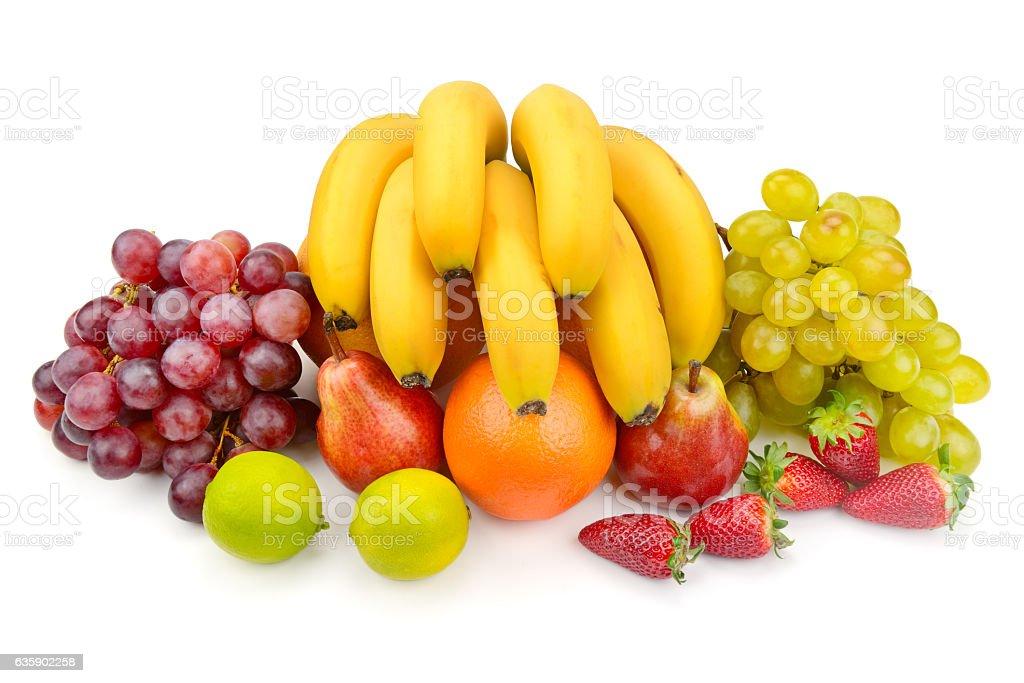 set of fruits isolated on white stock photo