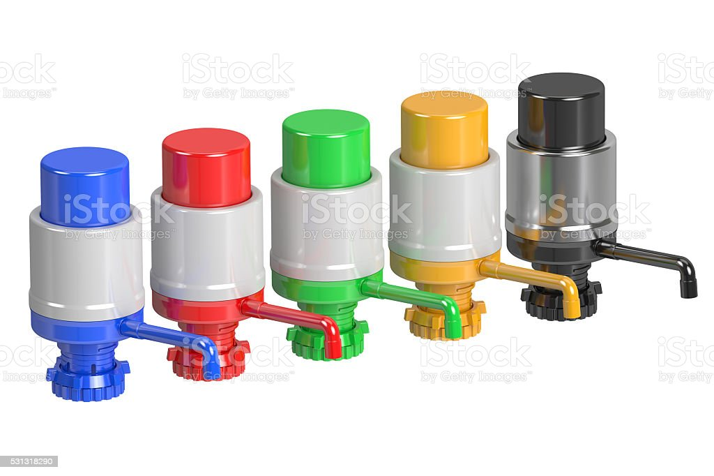 Set of Gallon Bottle Drinking Water Pumps, 3D rendering stock photo