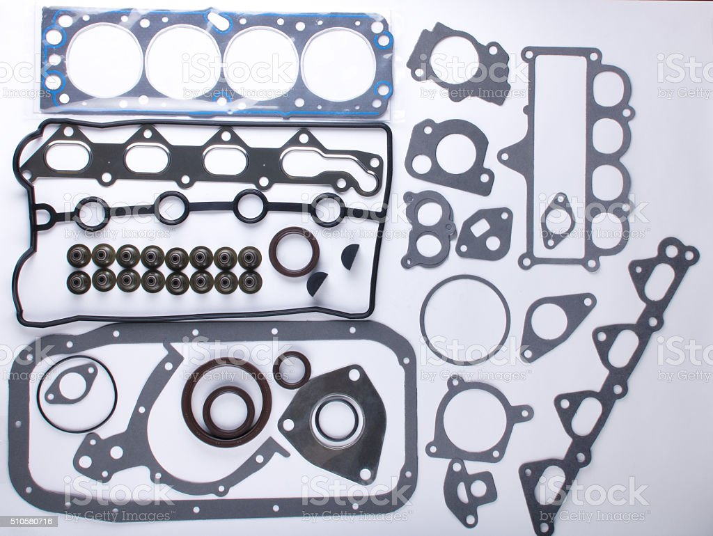 Set of gaskets for the engine stock photo