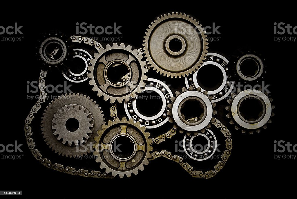 Set of gears, ball-bearings and chain royalty-free stock photo
