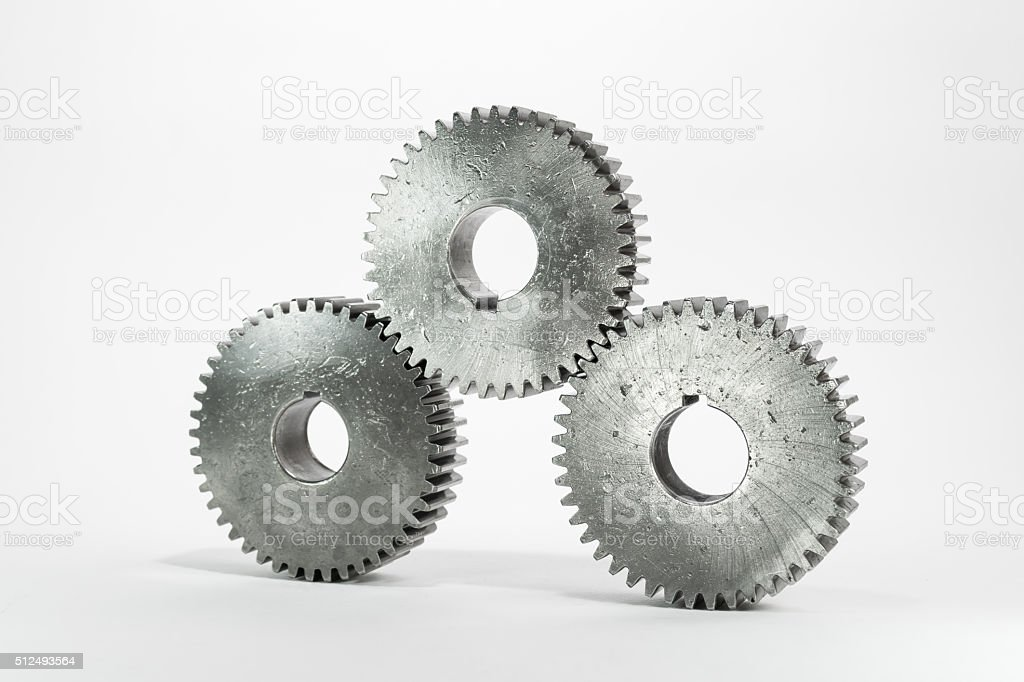 set of gears on isolated background stock photo