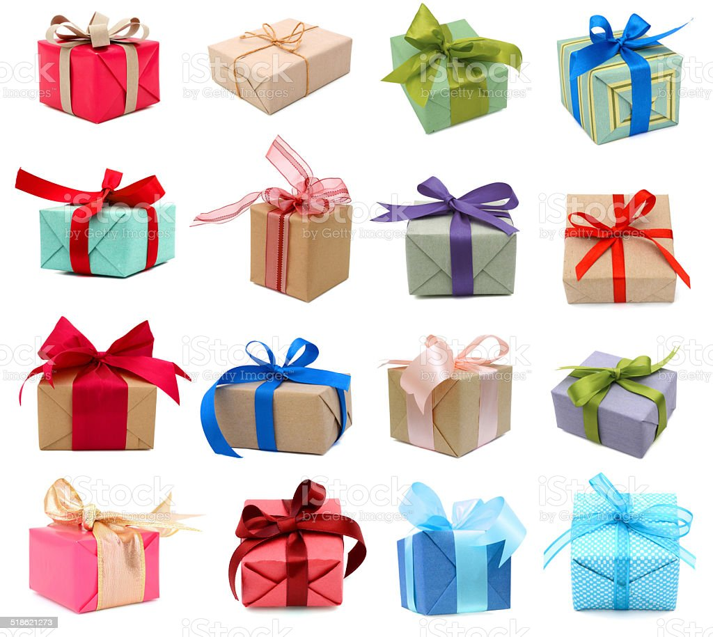 set of gift boxes stock photo