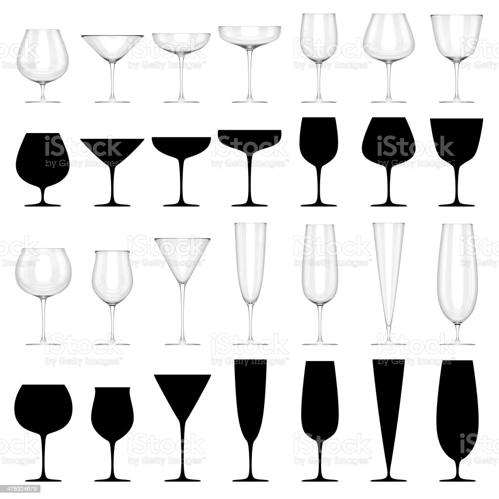 Set of Glasses for Alcoholic Drinks - ISOLATED royalty-free stock photo