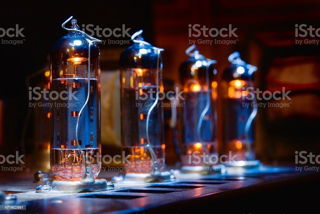 Set of glowing vacuum electron tubes stock photo