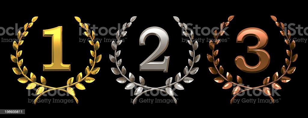 Set of gold, silver and bronze symbols on black background royalty-free stock photo