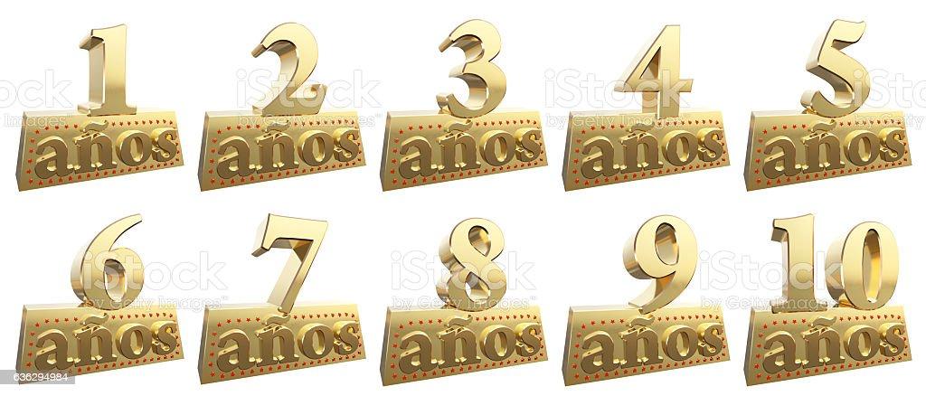 Set of golden digits on a gold ingot. Spanish stock photo