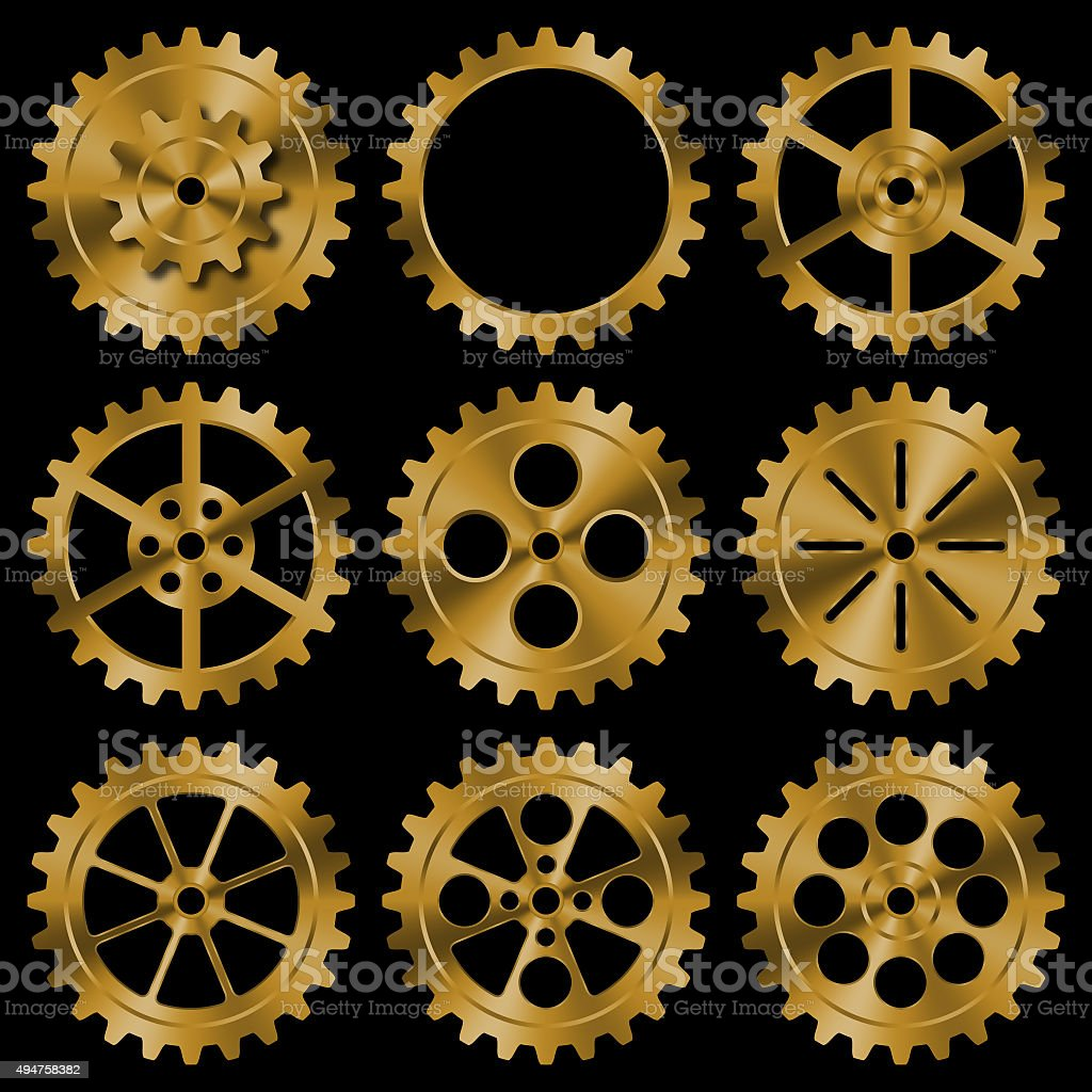 Set of golden gears on black background. stock photo