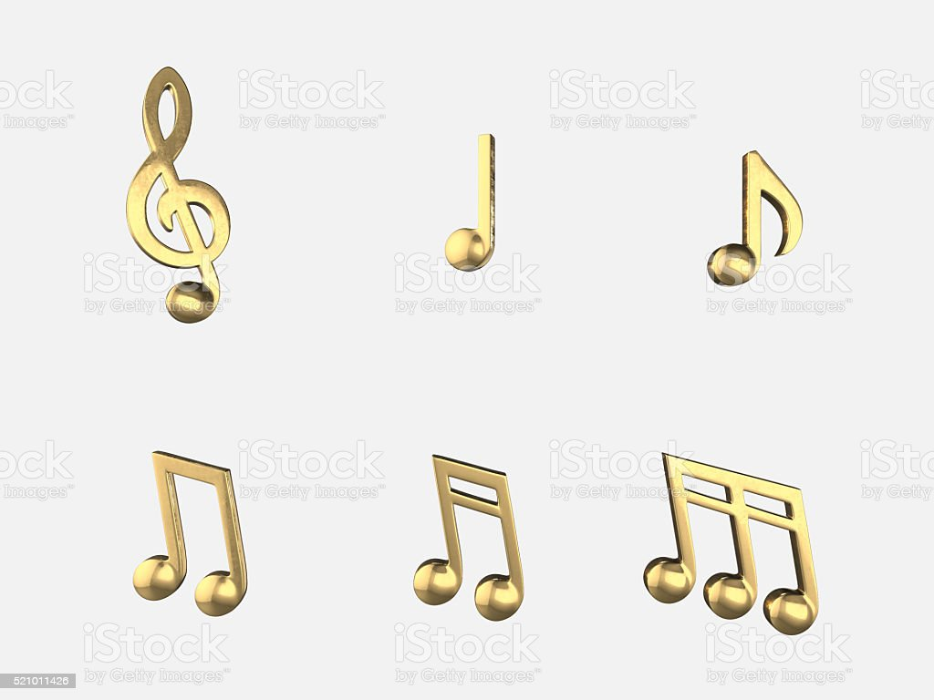 Set of golden music notes , isolate objects .3D rendering stock photo