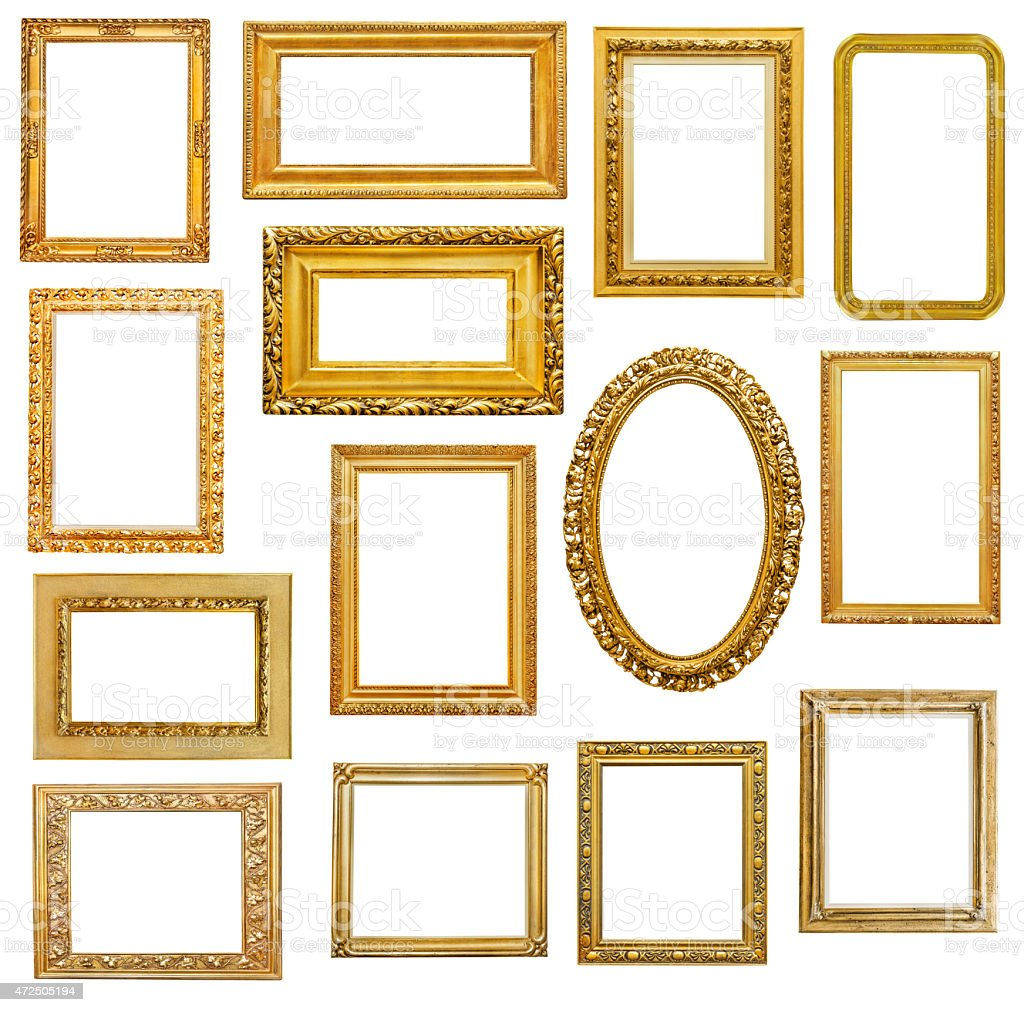 Set of golden picture frames with varying dimensions stock photo