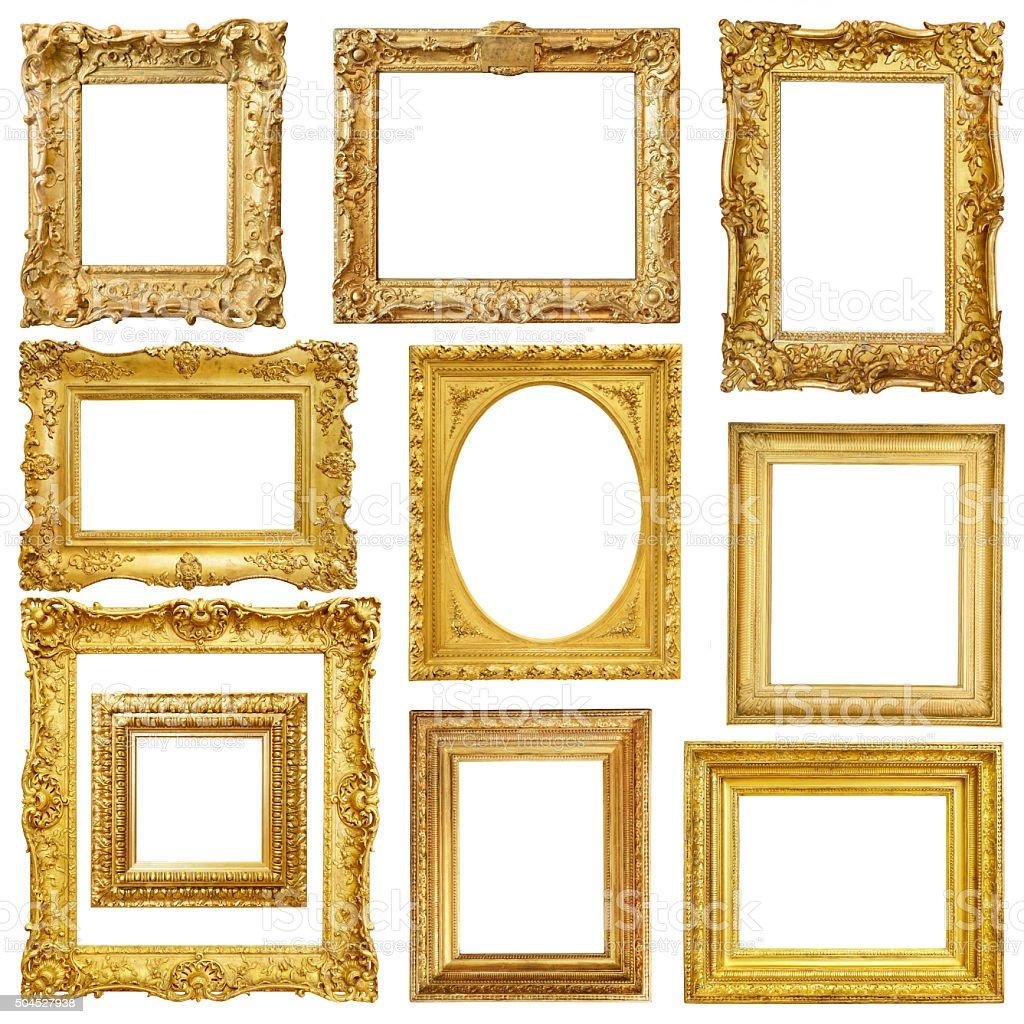Set of golden vintage frame isolated on white background stock photo