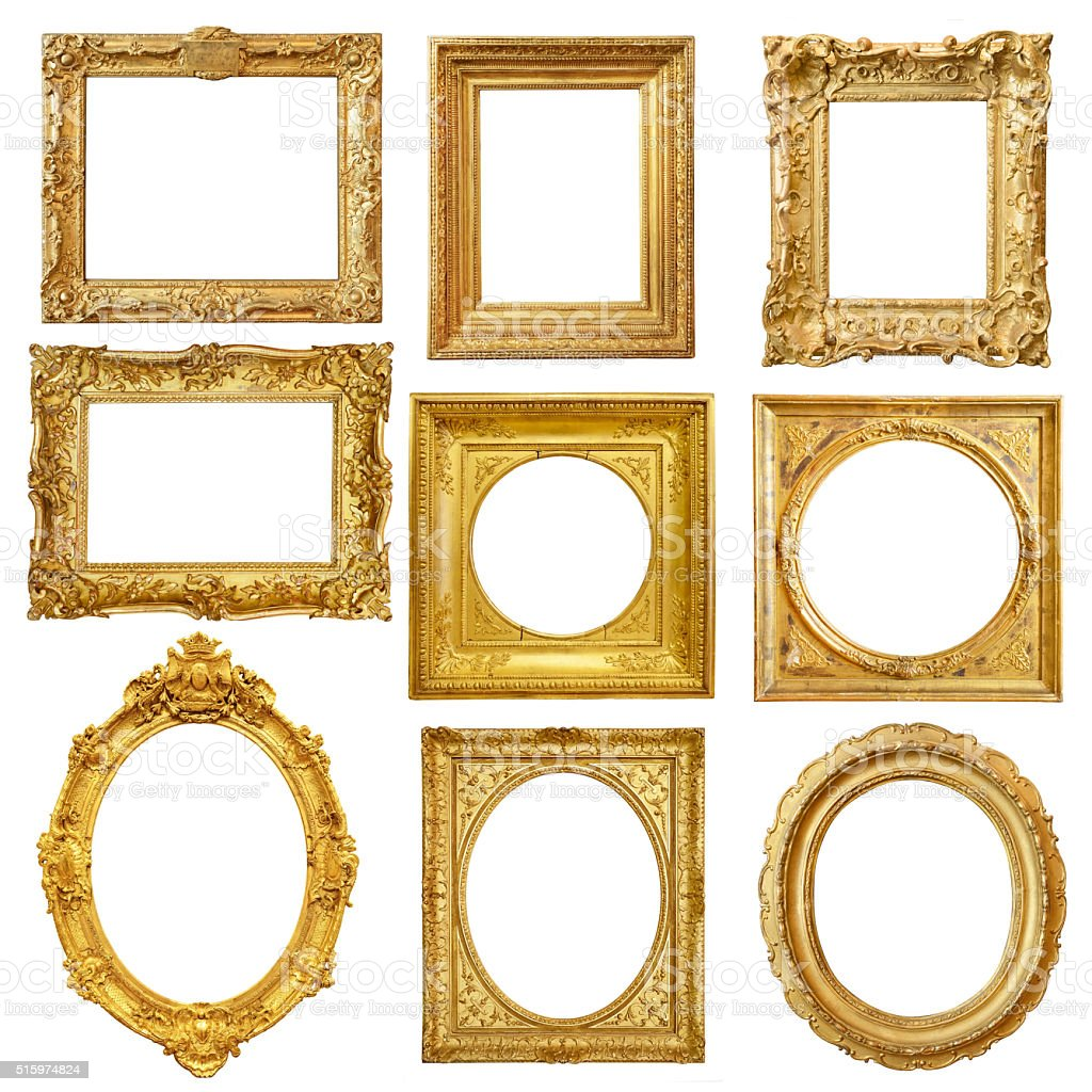 Set of golden vintage frame isolated on white background stock photo