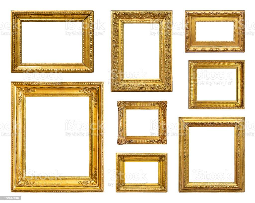 Set of golden vintage frame stock photo