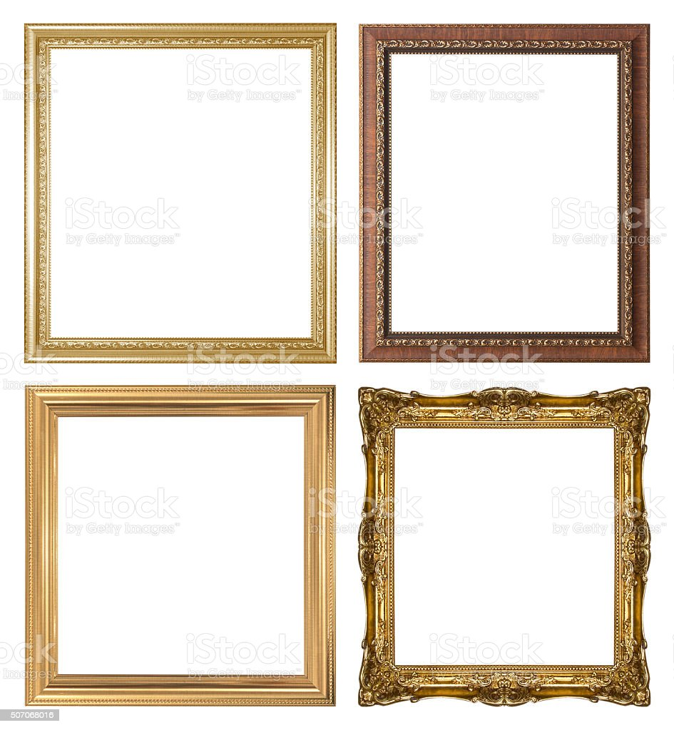 Set of golden vintage frame stock photo