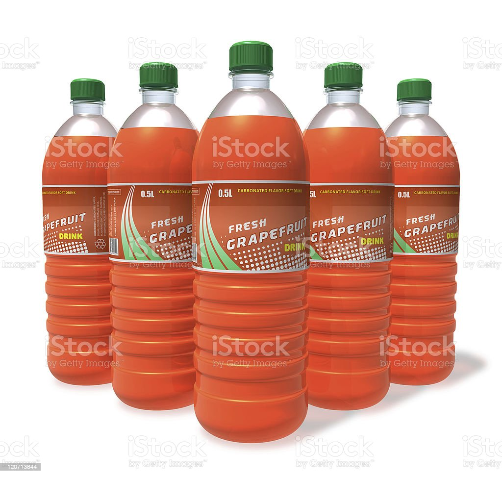 Set of grapefruit drinks in plastic bottles royalty-free stock photo
