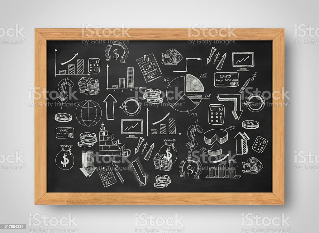 Set of graphics and pictures about economics statistics painted on stock photo