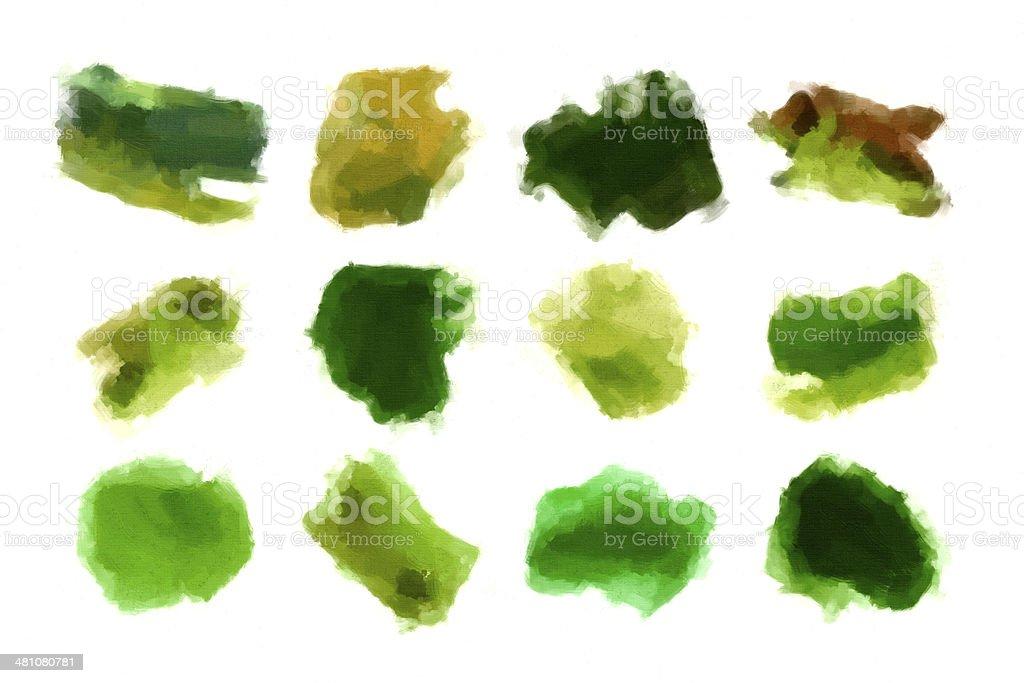 Set of green acrylic brush strokes royalty-free stock photo