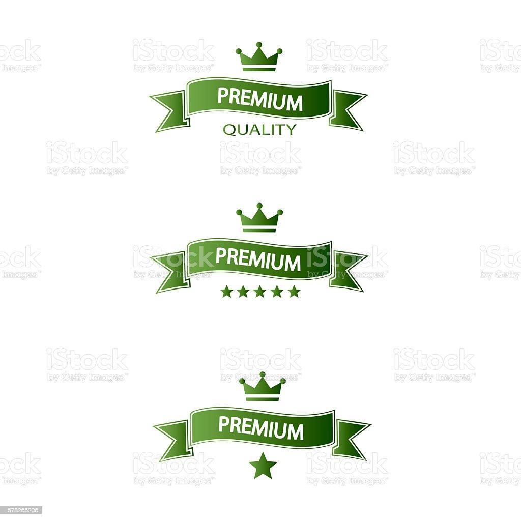set of green ribbons premium quality stock photo