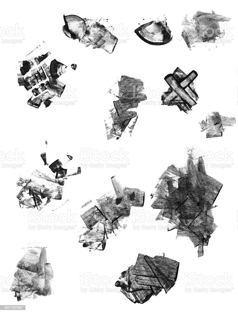 Set of grunge textured abstract ink elements royalty-free stock photo