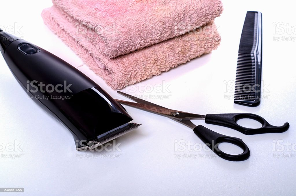 set of hair care products to hair-clipper stock photo