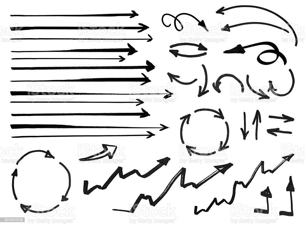 Set of hand drawn arrows stock photo