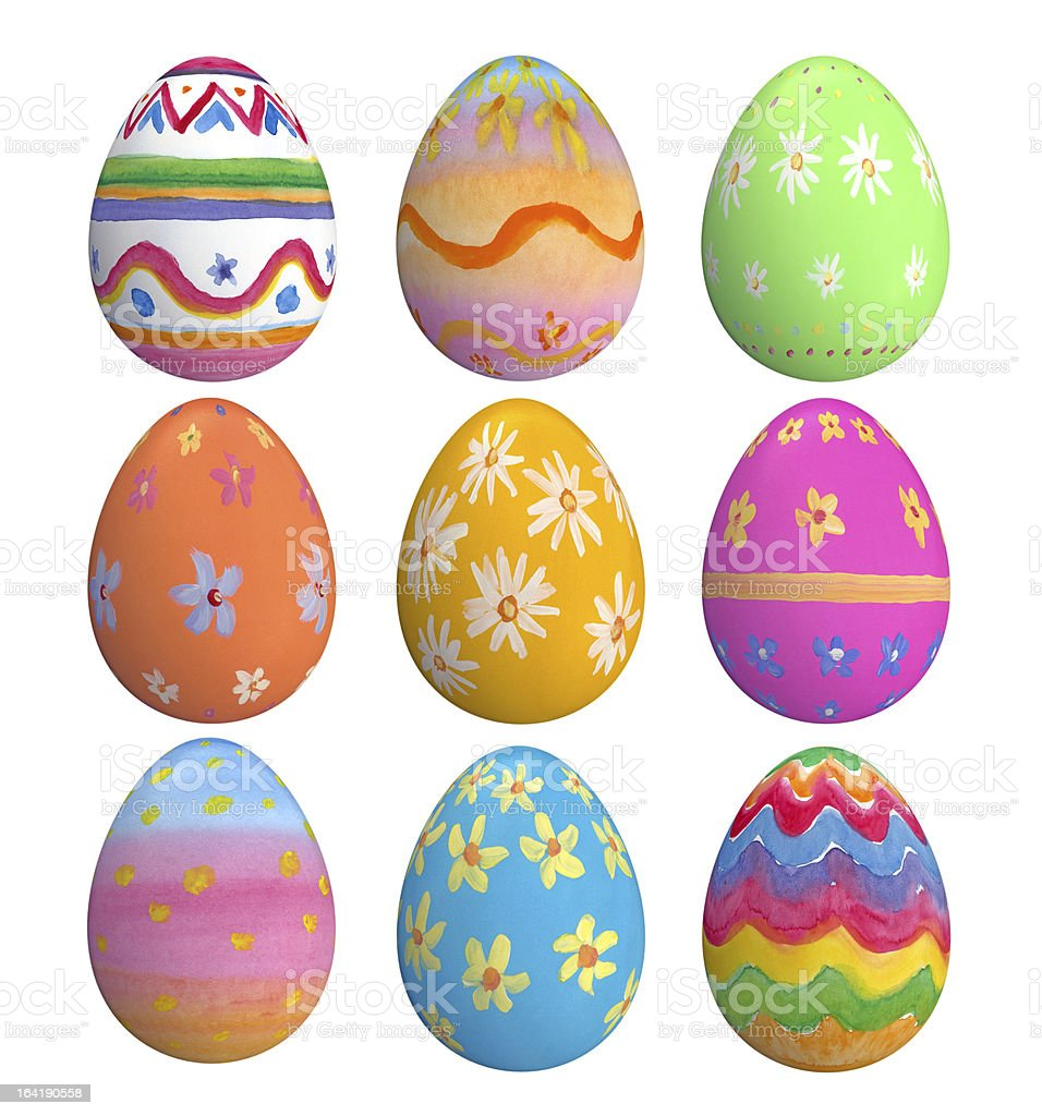 Set Of Hand Painted Easter Eggs stock photo
