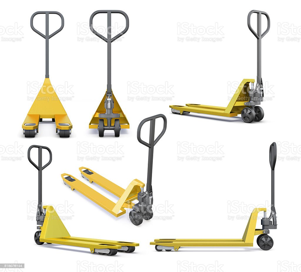 Set of hand pallet truck isolated on white background. stock photo