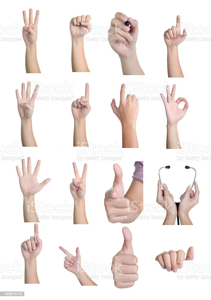 set of hand showing different signs 16 action isolated stock photo