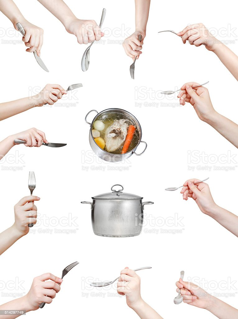 set of hand with kitchen utensil isolated on white stock photo