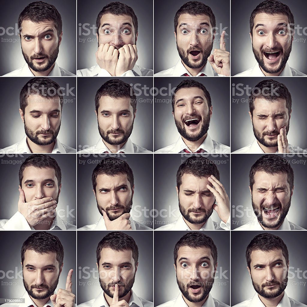 set of handsome emotional man royalty-free stock photo