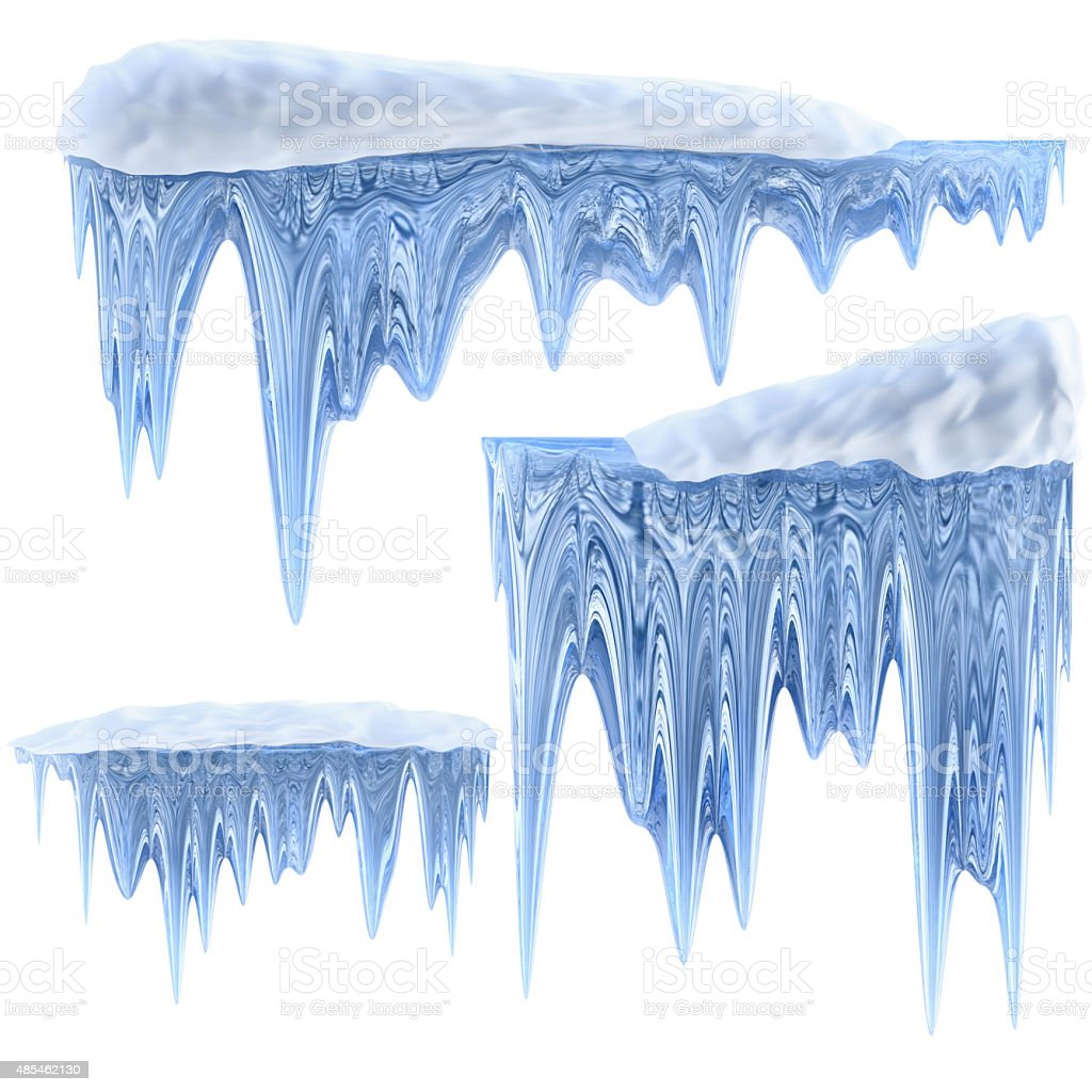 set of hanging thawing icicles of a blue shade stock photo