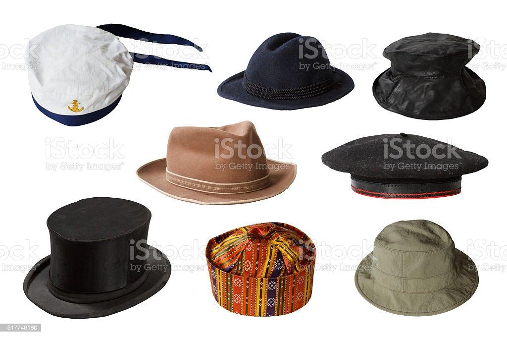 Set of hats isolated on white background stock photo