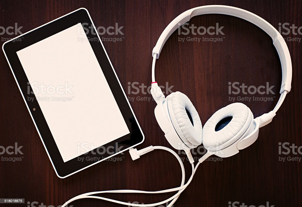 Set of headphones with an MP3 player stock photo