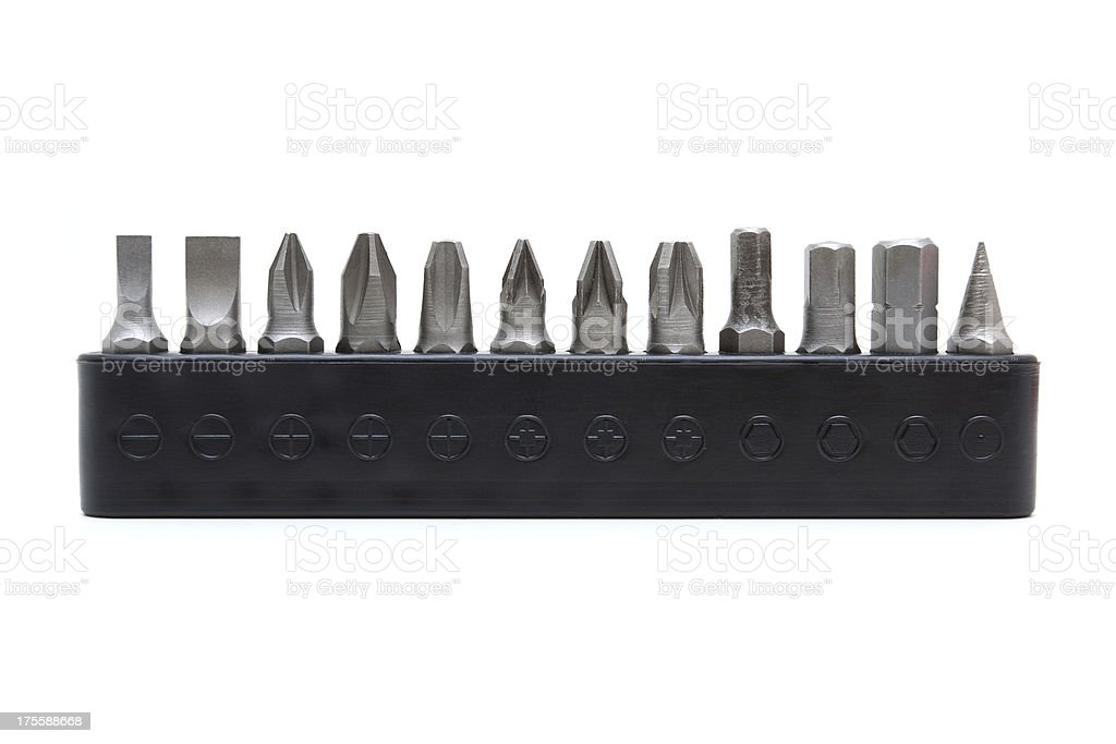 Set of heads for screwdriver isolated on white background stock photo