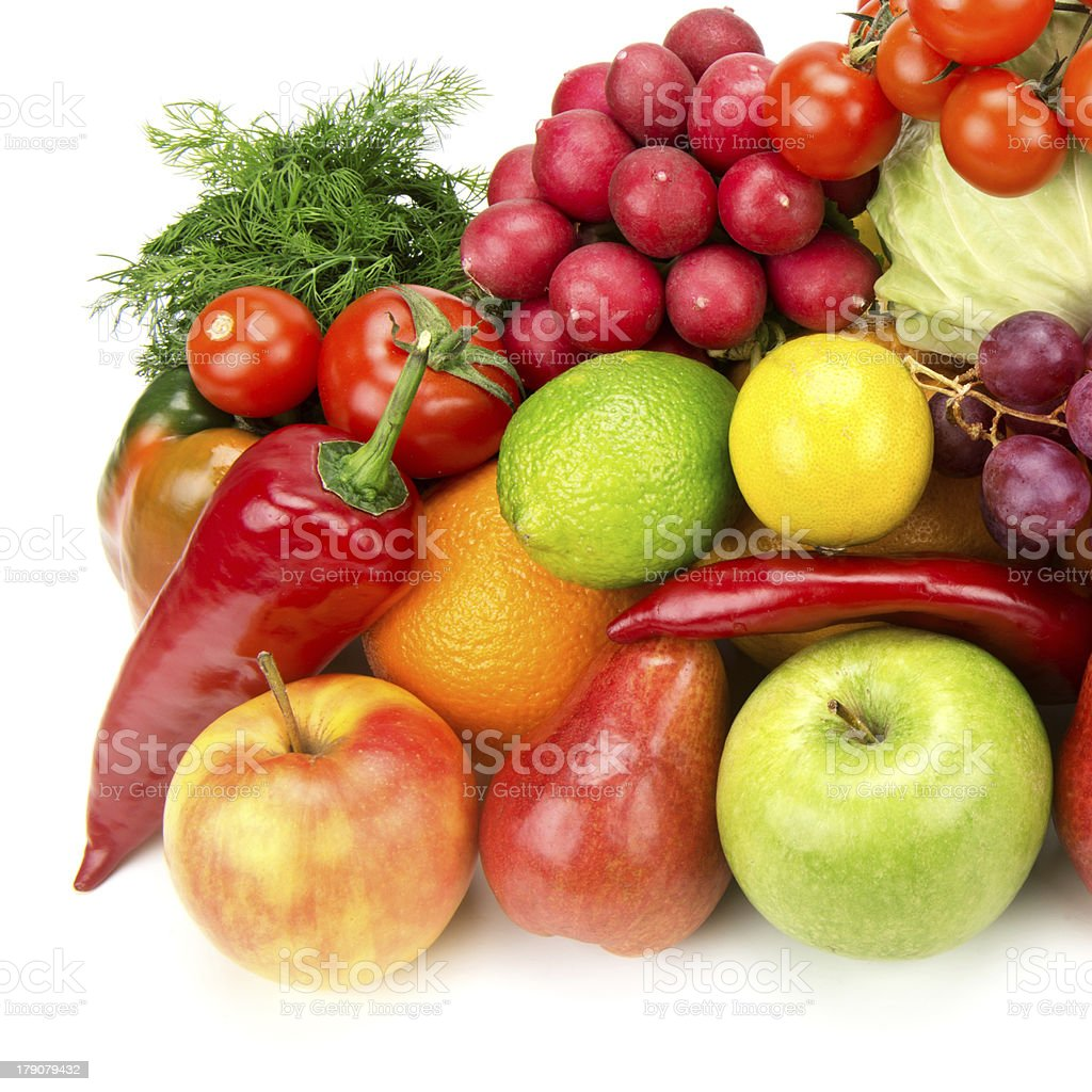 set of healthy vegetables and fruits royalty-free stock photo
