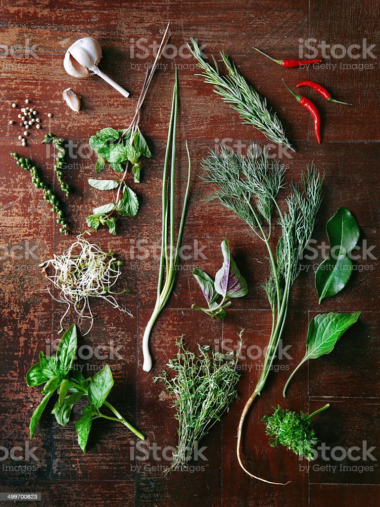 Set of herbs and spices stock photo