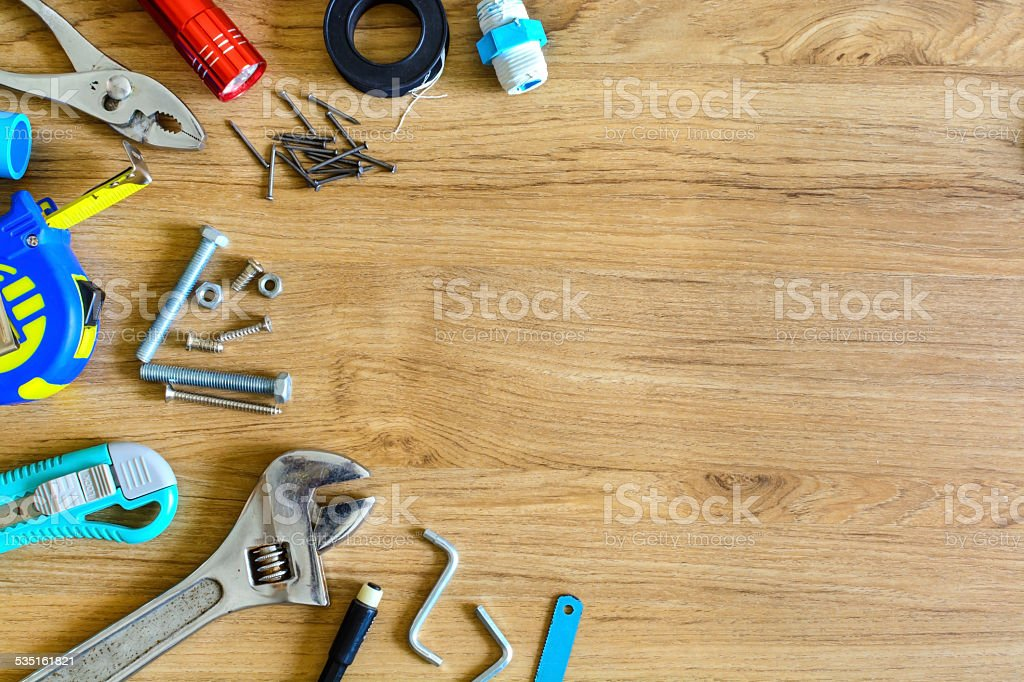 Set of home manual tools stock photo