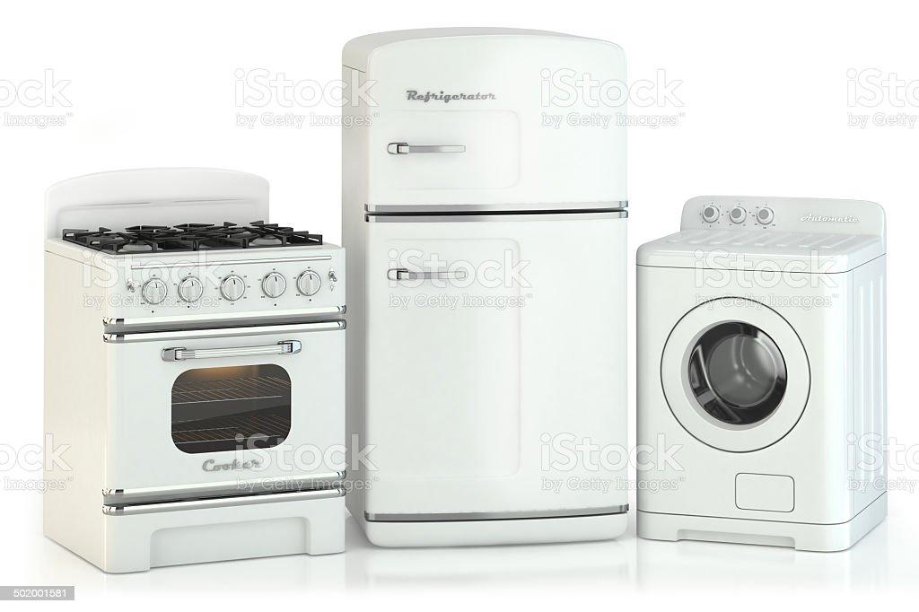 Set of home retro appliances stock photo