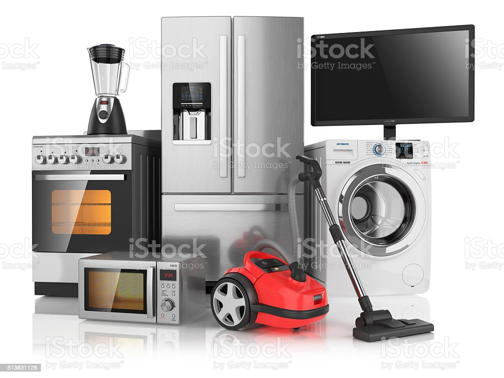 Set of household kitchen appliances stock photo