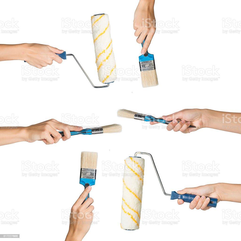 Set of human hands stock photo