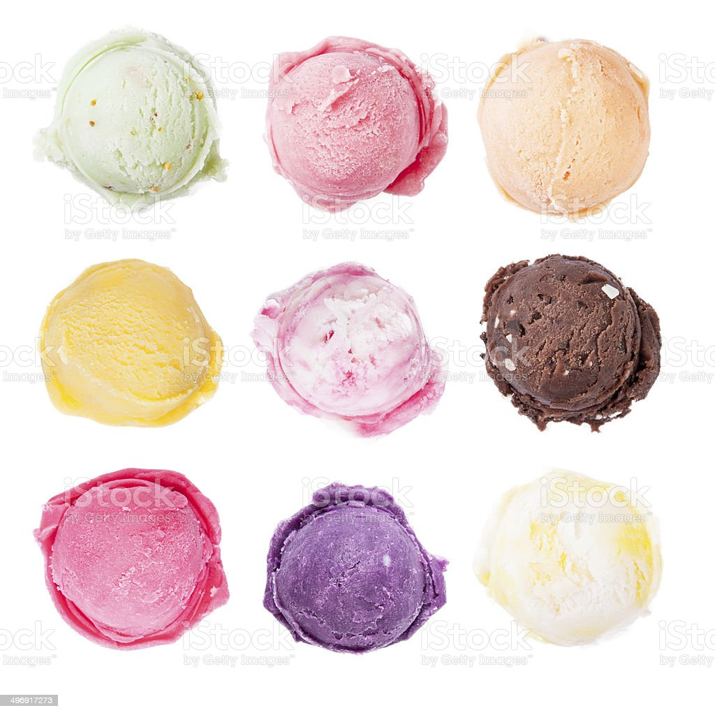 Set of ice cream scoops on white background stock photo