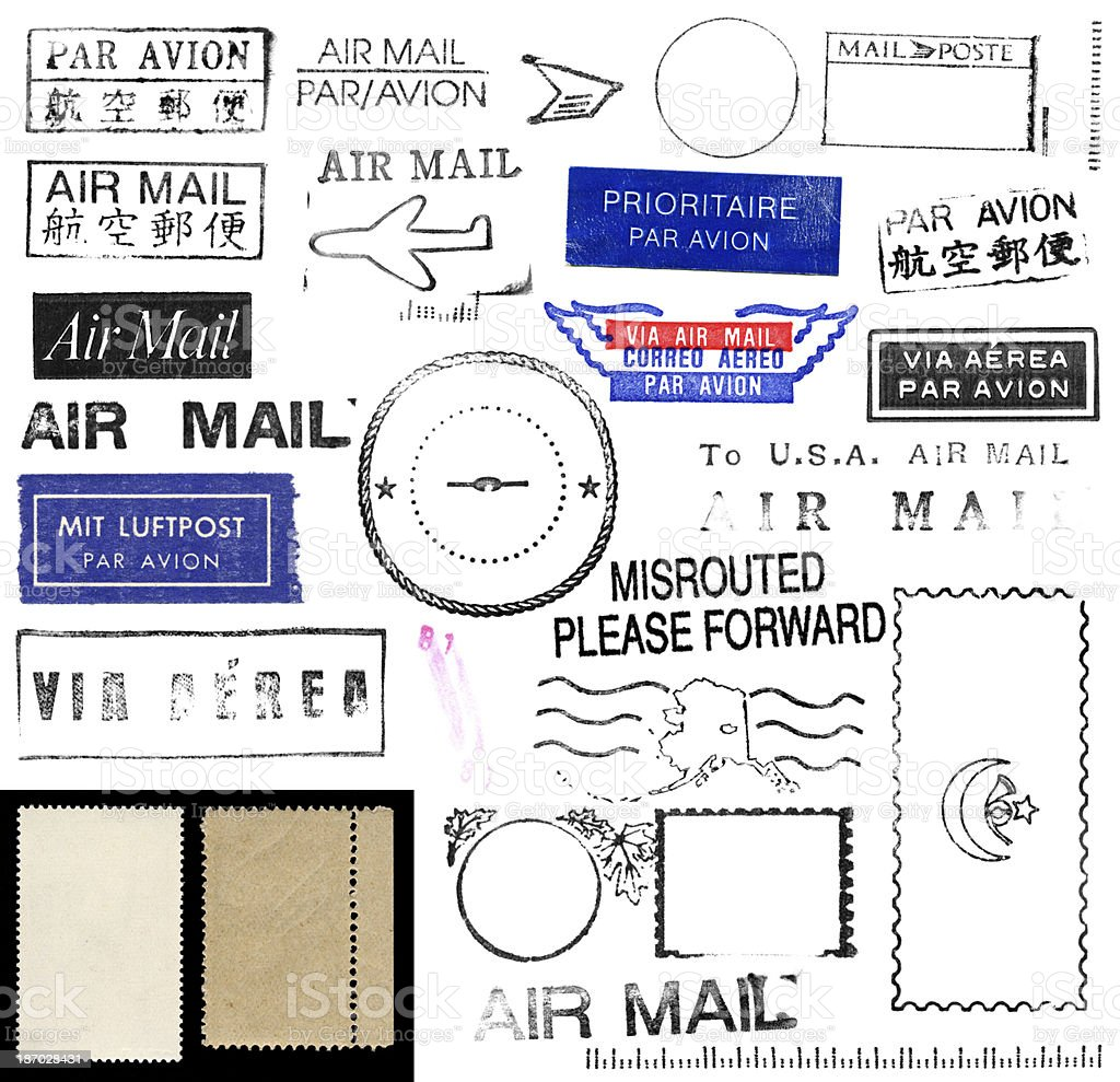 Set of illustrations of air mail and postage stamps royalty-free stock photo
