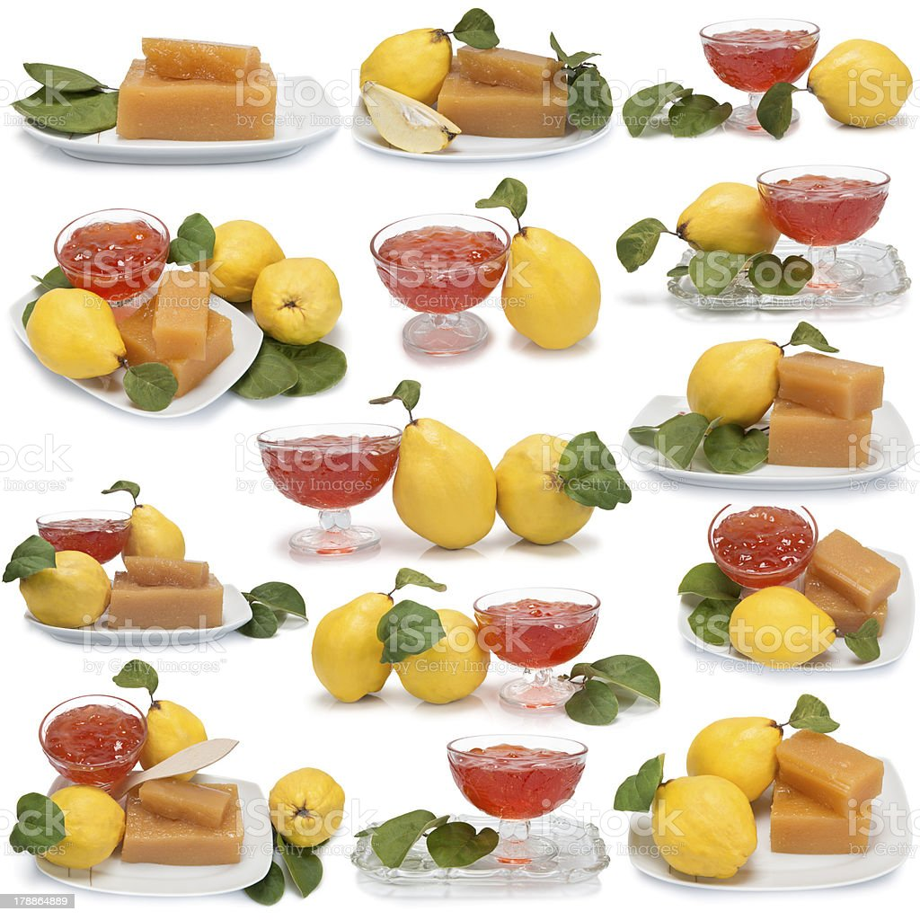 Set of images about quince desserts royalty-free stock photo